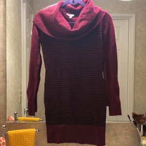 Cowl Neck/turtle neck Red Tunic Sweater  (S)